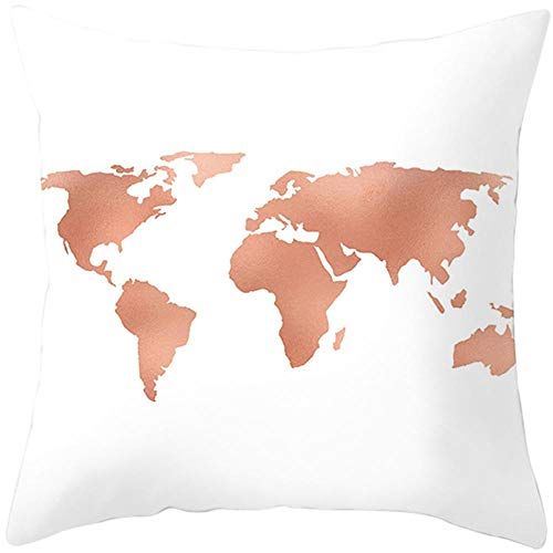JHJFD Funda De Cojín Oro Rosa De Almohada Decoración 45 X 45Cm para Cojines Decorativos Cremallera Invisible para para Sofá Coche (con Núcleo De Almohada)