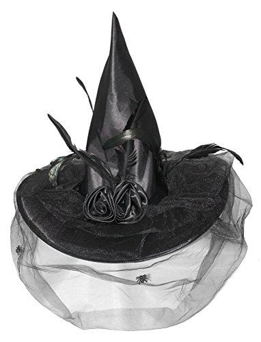 Hexenhut schwarz mit Tüll und Federn