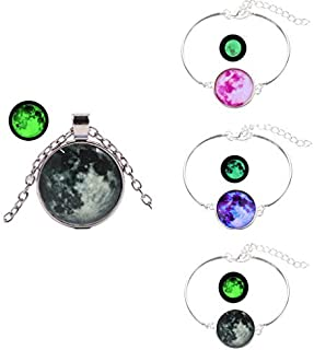SanMeader 4PCS luminous Necklace + Bracelets Universe Galaxy 925 Sterling Silver Pendant for Girls Women