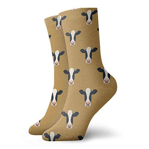 QUEMIN Regalo de Navidad Calcetines de vacas lecheras (mostaza) Calcetines cortos deportivos clásicos 30cm / 11.8 pulgadas Adecuado para hombres, mujeres,