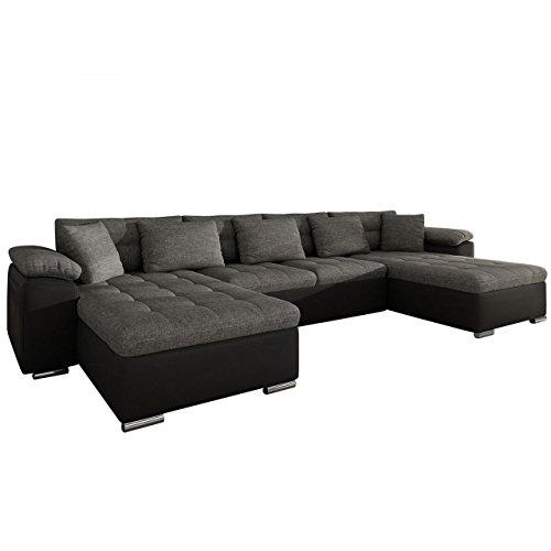 Mirjan24 Ecksofa Wicenza! Design Big Sofa Eckcouch Couch! mit Schlaffunktion Bettfunktion! Wohnlandschaft! U-Form, Große Farbauswahl (Soft 011 + Lux 06)