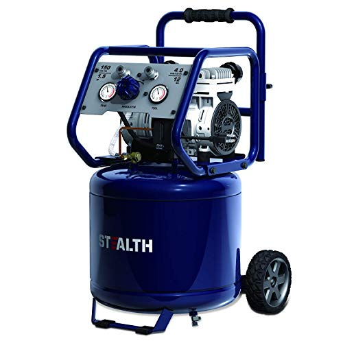 STEALTH Air Compressor, Oil-Free, Ultra Quiet 1.5HP 12 Gallon Electric Air Compressor 4 CFM @ 90 PSI with Large Rubber Wheels, Blue-SAQ-11215
