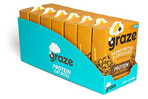 Graze Peanut Butter & Chocolate Protein Oat Bites - Vegan Healthy Snack with Whole Oats - 30g (28 Snacks - 7 Packs of 4)