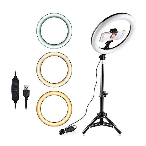 Iluminador LED Ring Light 26cm para Maquiagem Fotos com tripé e suporte celular