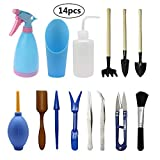 BETOY Mini Gartenarbeit Werkzeug, 14 pcs Garten Werkzeug Set Sukkulenten Werkzeuge Indoor Mini Hand Gardening Tool-Set für drinnen und draußen, Bonsai-Pflanzenpflege