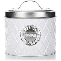GRAND DESIGN: Le pot de rangement pour le sucre dans un style chic et intemporel en blanc s'intègre particulièrement bien dans les cuisines modernes ou classiques! MULTIFONCTIONNEL: En plus de stocker le sucre, de nombreux autres produits peuvent éga...