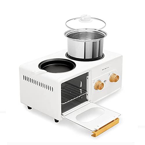 QULONG Mini Horno Máquina de Desayuno Cuatro en uno 6L, Horno eléctrico de sobremesa con Ajuste de Temperatura 30-230 ℃ y Temporizador de 60 Minutos, freidora de Aire de Horno Tostador con Puerta d