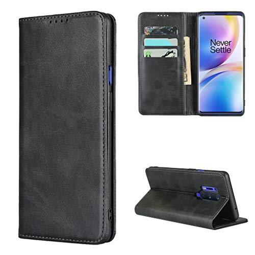 Copmob Hülle Oneplus 8 Pro,Premium Flip Leder Brieftasche Handyhülle,[3 Kartensteckplatz][Ständerfunktion][Magnetverschluss],Ledertasche Schutzhülle für Oneplus 8 Pro - Schwarz