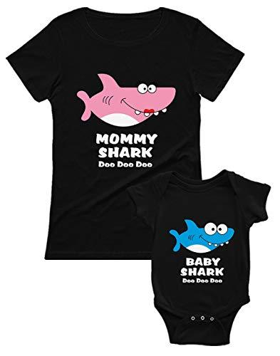 Green Turtle Mommy Shark and Baby Shark Set para Mamá y Bebé - Regalo Original para Mamá Mamá Negro Medium/Bebé Negro 3-6 Mes