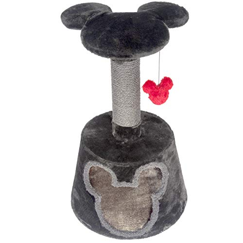 Penn-Plax Disney Cat Tree with Cubby, Sisal Rope Scratching Post, Mickey Mouse Platform, and Swatting Toy – Dark Grey and Red