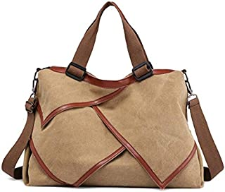 SODIAL Multi-Functional Patchwork Canvas Handbag Large Capacity Ladies Handbag Shoulder Bag Simple Style Travel Bag Gray