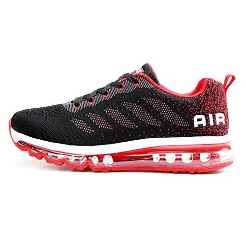 Sumateng Scarpe da Ginnastica Donna Uomo Sportive Sneakers Running Air Scarpe per Outdoor Fitness Corsa Walking Black Red 45 EU