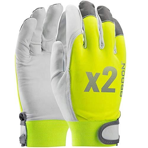 """Guantes de trabajo profesionales REFLEX HI - VIS, hechos de cuero de cabra muy suave, FLUO, fluorescente, con elementos reflectantes, mayor visibilidad (2 Pares, 8""""M"""")"""