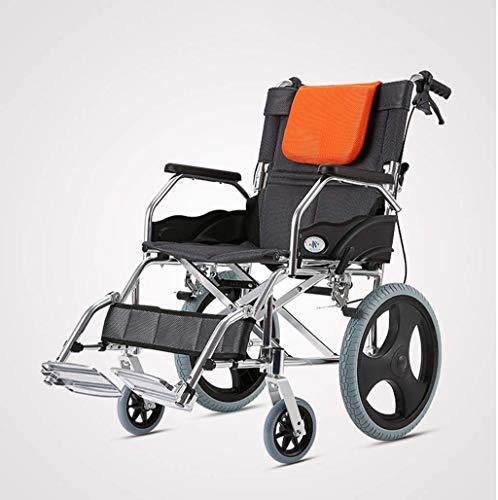 L-Y Rolstoel Vouwen Draagbare Oude Mensen Handkar voor de gehandicapten Ouderen Niet-Opblaasbare Ultra-Licht Draagbare Reizen -8484Zelfrijdende Rolstoelen, Oranje, een
