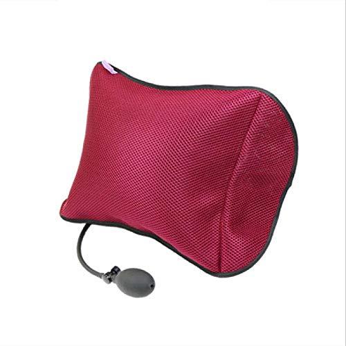 siqiwl Cojín lumbar para coche de apoyo lumbar para silla de oficina de coche, almohada portátil con bomba negro extraíble de malla Masaje almohadas M rojo