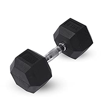 Day 1 Fitness Rubber Hex Dumbbell Shaped Heads to Prevent Rolling and Injury - Ergonomic Hand Weights for Exercise Therapy Building Muscle Strength and Weight Training - 35 lb Single