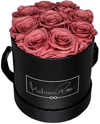 MadameRose Rosenbox rund mit 9 konservierten Altrosa/Hellviolett Rosen in schwarzer Hutschachtel als Geschenk und Deko, Größe L, echte Premium Rosen 3 Jahre haltbar