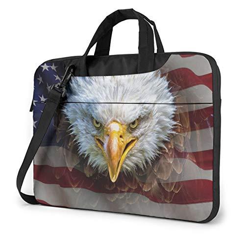 Bolsa de hombro para portátil – Colorido ciervo impreso a prueba de golpes impermeable portátil bolso de hombro mochila maletín, Águila calva americana (Rosa) - 259841