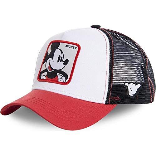 Anime Blue Cap Cotton Baseball Cap Men Women Hip Hop Dad Hat Trucker Mesh Hat, Mickey Red