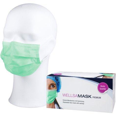 wellsamed wellsamask Mundschutz OP-Masken Einweg 50 Stück Grün Gummibänder 3-lagig