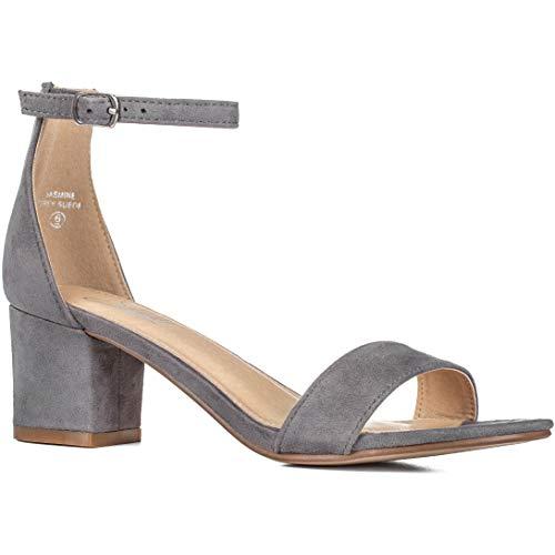 ILLUDE Women's Fashion Ankle Strap Kitten Heel Sandals - Adorable Cute Low Block Heel – Jasmine (11, Grey Suede)
