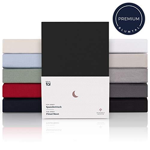 Blumtal Premium Spannbettlaken 180x200cm - Superweiches 100% Baumwolle Spannbetttuch, bis 25cm Matratzenhöhe, Schwarz