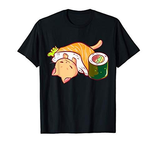 Kawaii Sushi Neko Cat Gatto For Anime And Manga Fans Maglietta