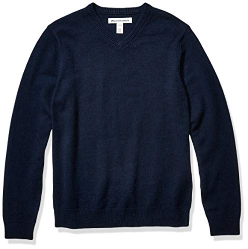 Amazon Essentials Men's Midweight V-Neck Sweater, Navy, Medium