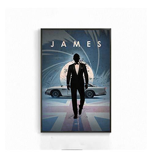 nr James Bond Max Klassische Filmplakate Wandkunst Retro Leinwand Malerei Und Drucke Wandbilder Für Wohnzimmer Wohnkultur-50x70 cm Kein Rahmen