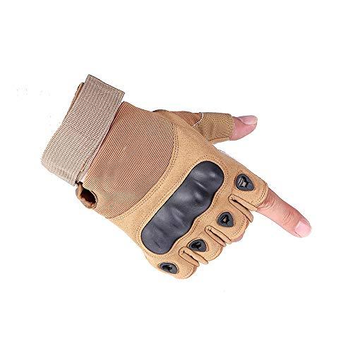 DHYY Motorrad-Handschuhe Anti-Rutsch-Verschleißfeste Sonnenschutz, benutzt für Radfahren, Klettern, Wandern, Jagd, Outdoor Sportgerät, halbe Finger-Handschuhe,Beige,M