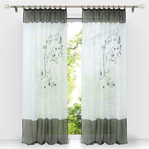 HongYa 1 Stück Bestickte Gardine Transparenter Voile Vorhang Fensterschal mit Kräuselband H/B 225/140 cm Grau