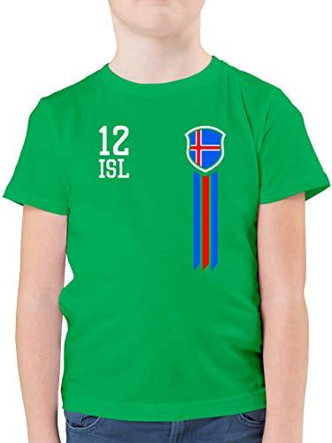 Fußball-Europameisterschaft 2020 Kinder - 12. Mann Island Fanshirt - 152 (12/13 Jahre) - Grün - Island Trikot Kinder - F130K - Kinder Tshirts und T-Shirt für Jungen