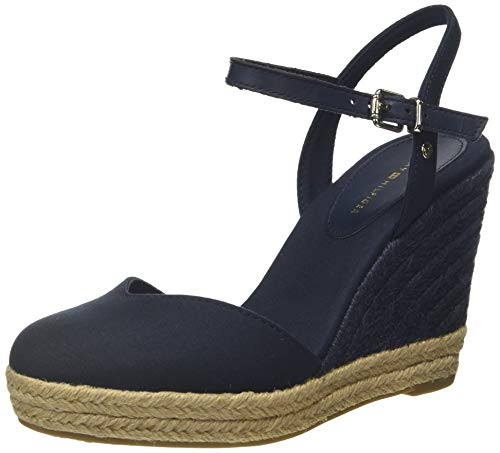 Tommy Hilfiger Damen Basic Closed Toe HIGH Wedge Peeptoe Sandalen, Blau (Desert Sky Dw5), 40 EU