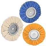 3PCS 8' Airway Buffing Wheel(1 pcs White/1 pcs Orange/1 pcs Blue),5/8' Arbor Hole,16 Ply Fine,Medium,Coarse Polishing for Angle Grinder Mirror Finish on Aluminum and Stainless, by NAKAO