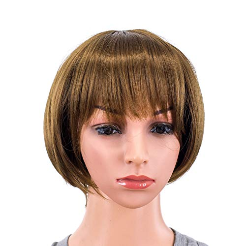 SWACC 10 Inch Short Straight Bob Wig with Bangs Synthetic Colorful Cosplay Daily Party Flapper Wig for Women and Kids with Wig Cap (Brown)