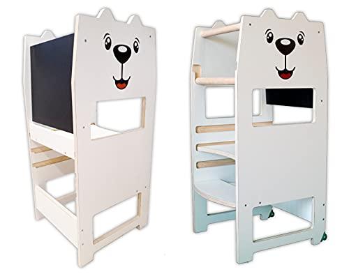 Arte del Legno, Torre Montessoriana di apprendimento per Bambini EASY TOWER, Fissa con Piano Regolabile, Personalizzabile e Antimacchia