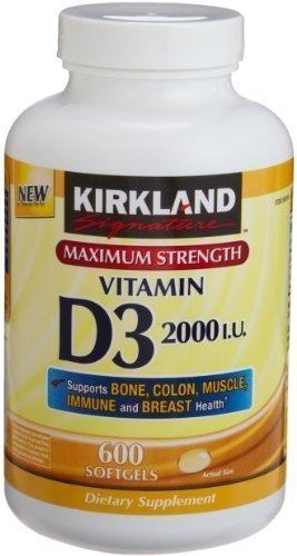 Kirkland Signature Maximum Strength Vitamin D3 2000 I.U. , Pack of 3