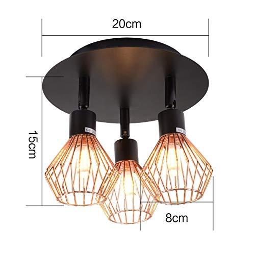 JASZHAO Lampenschirm, einstellbar 3 Way 220V Deckenleuchte Moderne G9 Käfig industrielle Pendelleuchte Shade Spotlight Decor
