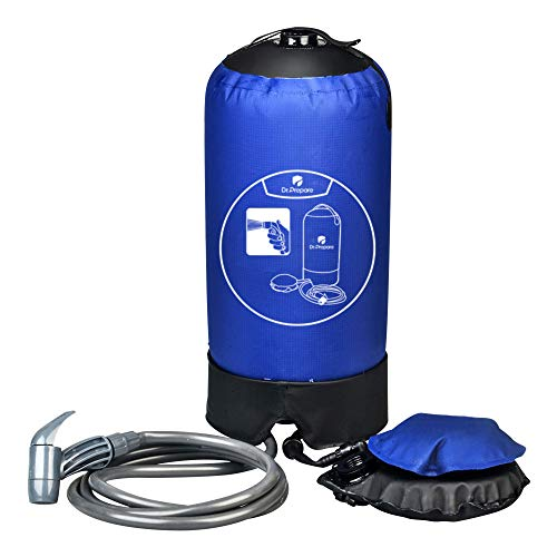 Dr. Prepare Camp Shower, Portable Outdoor Camping Shower Bag with Pressure Foot Pump and Shower Nozzle for Beach Swim Travel Hiking Backpacking - 4 Gallon, Blue