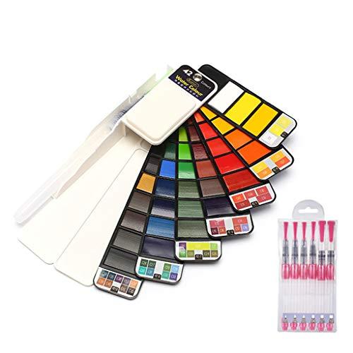 RROVE - Juego de Pintura de Pigmento de Acuarela sólida Whirl portátil con 6 Piezas de Pincel de Agua Color Brillante 42 Colores