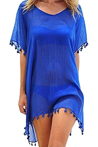 Tunica Playa Mujer Talla Grande Bohemio Hippie Chic Vestidos Cortos con Flecos Traje de Baño Camisolas y Pareos Beach Cover Up Mangas Cortas Caftan Túnica Kaftan Etnico Kimono Transparente Mini Dress