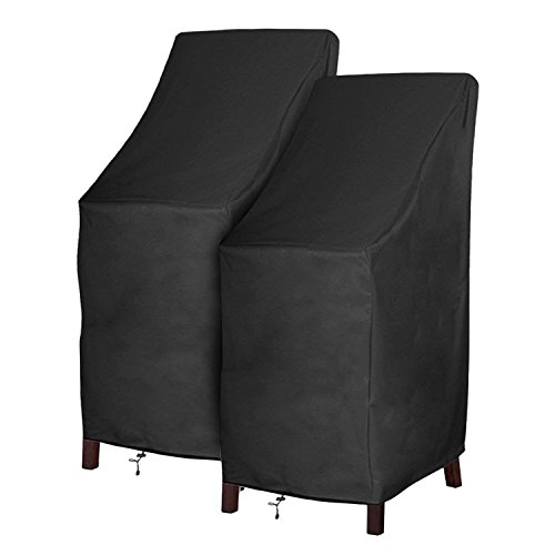 Patio Chair Covers Waterproof Durable Outdoor Bar Stool Cover Premium Stairs Cover Stackable Chairs Cover Black Thick Oxford Cloth (L27.5 x D27.5 x H49.2 inch, 2 Pack)