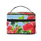 Hibiscus in full bloom bolsa de cosméticos, bolsa de maquillaje, bolsas de viaje portátiles para mujeres, organizador de maquillaje con cremallera