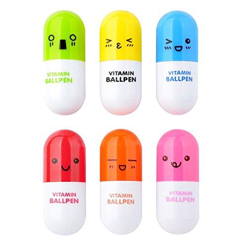 ChannelExpert 6x Pillen Kugelschreiber Teleskopartiger Vitamin Kapsel Kugelschreiber Kinder Spielzeug Lachen