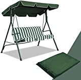 """LUARANE 77"""" x 43"""" Swing Canopy Replacement Porch Top Cover, Outdoor Waterproof Sun Shade Cover for Outdoor Seat Furniture Chair, Ideal for Garden Patio Park Yard, Top Cover Only (Green)"""
