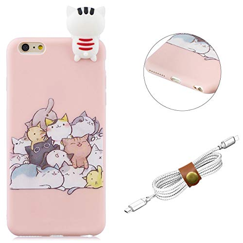 QY Mart Cartoon Case Compatible iPhone 6/iPhone 6S 4.7' Cute 3D Animal TPU Bumper Cover Slim Fit Soft Silicone Gel Rubber Skin Back Shockproof Case with Earphone Holder - Cute Cat