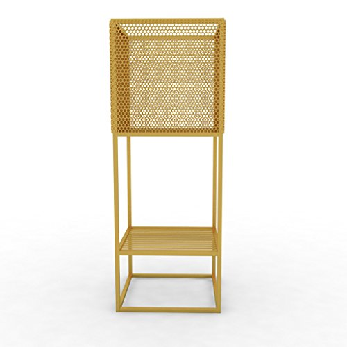 HAMIMI Flower Stand Metal Flower Pot Decoration Frame Indoor Pot Rack Floor Planting Double-Layer Plant Stand 70x25x25CM Flower Stand (Color : Gold)