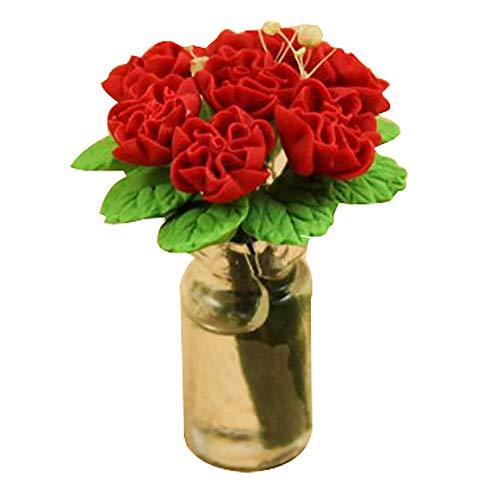 KimcHisxXv Poppenhuis decoratie, 1/12 Schaal Poppenhuis Miniatuur Rose Bloem in Glazen Vaas Kamer Tafeldecoratie Speelgoed - Geel