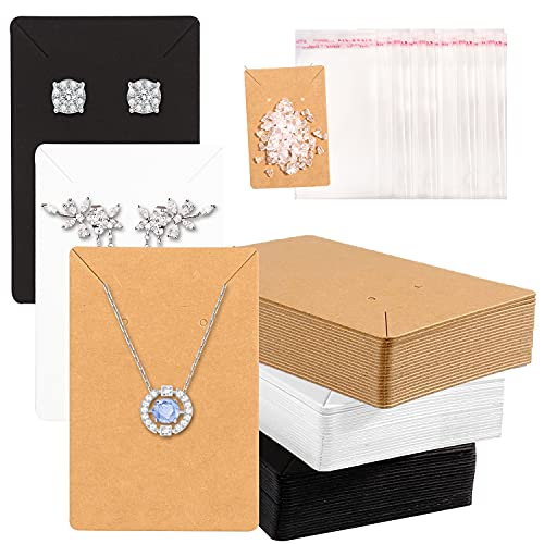"""500Pcs Earring Cards,3.5"""" x 2.63"""" Earring Display Cards 120 Earring Cards for Jewelry 120 Earring Holder Cards with 260 Earring Backs and 120 Self- Sealing Bags for Earrings Necklace Jewelry Display"""