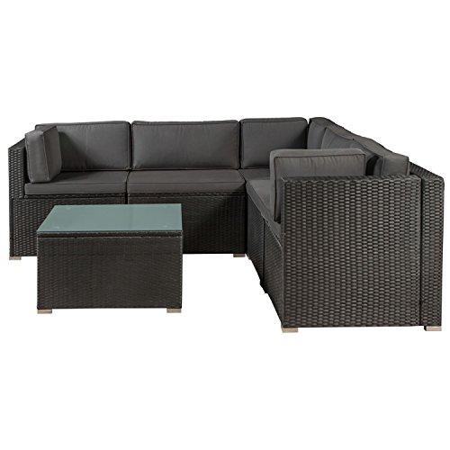 ArtLife Polyrattan Lounge Nassau schwarz | Gartenmöbel-Set mit Ecksofa & Tisch | dunkelgraue Bezüge | Sitzgruppe für Terrasse & Wintergarten - 3